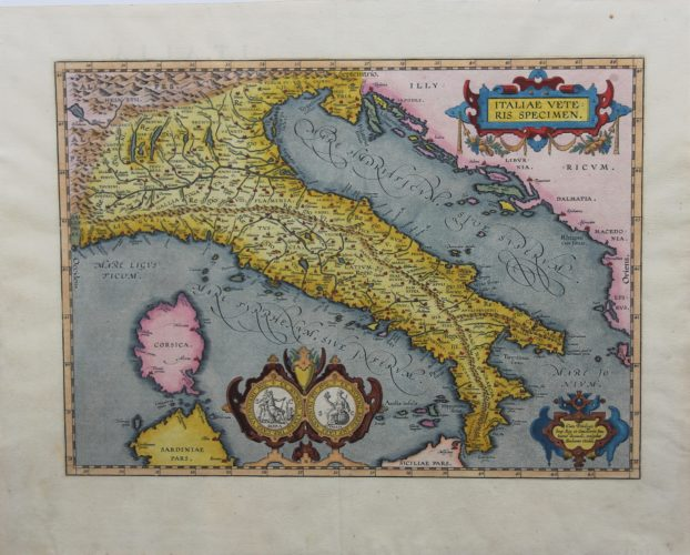 Old original map of ancient Roman Italy by Ortelius
