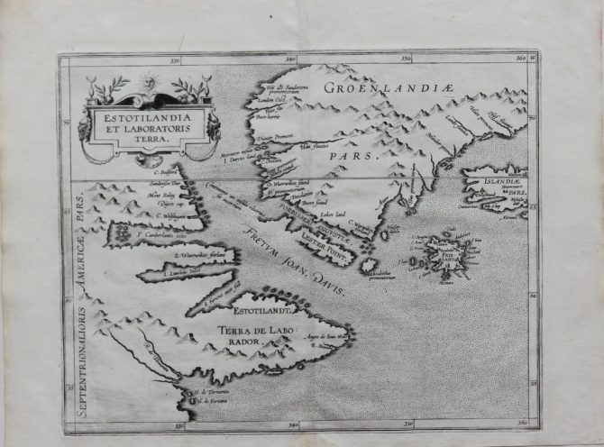 Old original map of Labrador and Greenland by Wytfliet