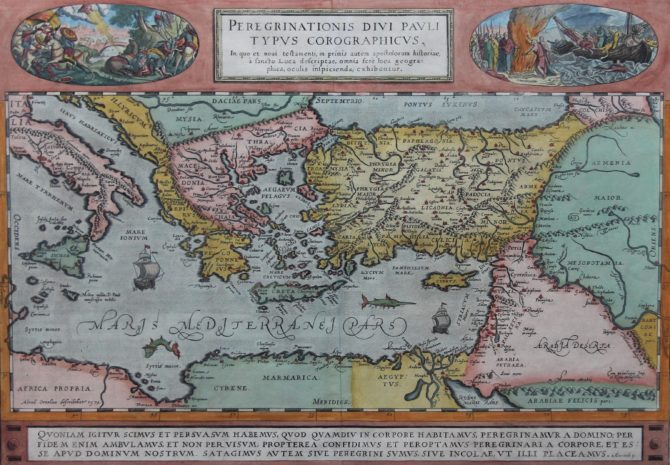 Old original map of the voyages of Paulus by Ortelius