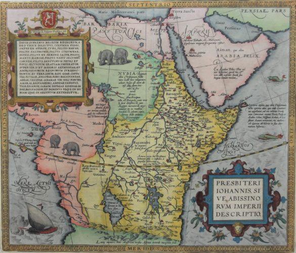Old original map of Prester John's Africa by Ortelius