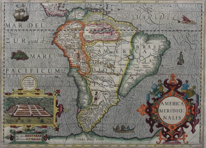 Old original and coloured map of South America with inset of Cusco by Jodocus Hondius
