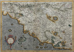 Old original map of Tuscany by Mercator and Jodocus Hondius