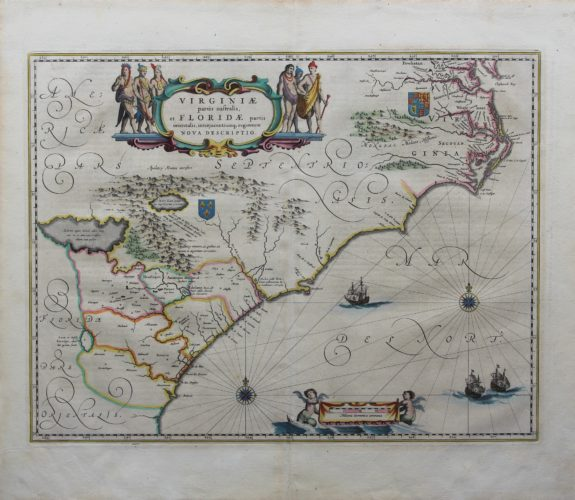 Old original map of Virginia of the Carolinas by Blaeu