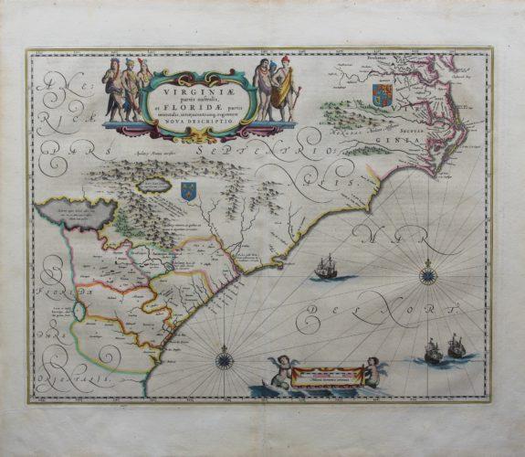 Old original map of Virginia of the Carolinas by Blaeu