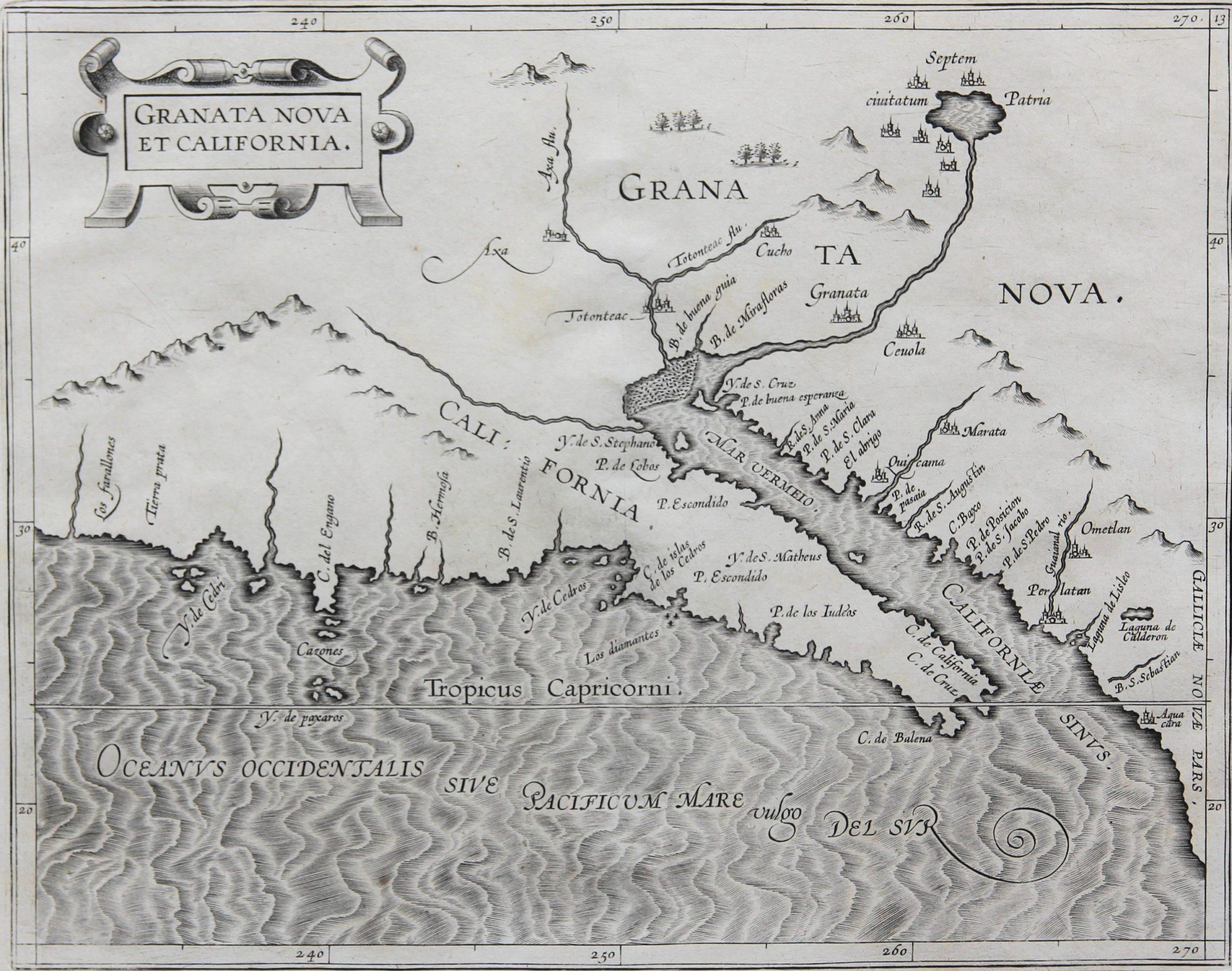 Old original map of California by Wytfliet