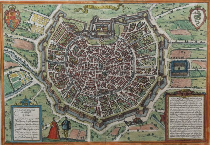 Old original and coloured citymap of Milan by Barun Hogenberg