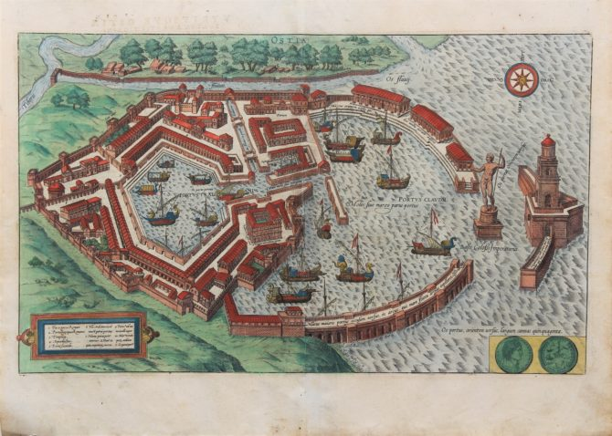 Old original and coloured city plan of the harbour of Portus or Ostia by Braun Hogenberg