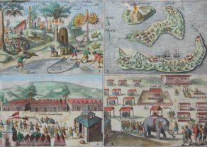 Four views of Mauritius and the Banda islands including Ternate by Orlers 1610
