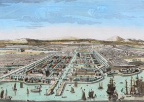 Superb optica view of Batavia by Huquier published in 1755