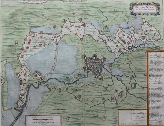 Old map of the siege of Breda in 1624 by Blaeu 1649 or 1652