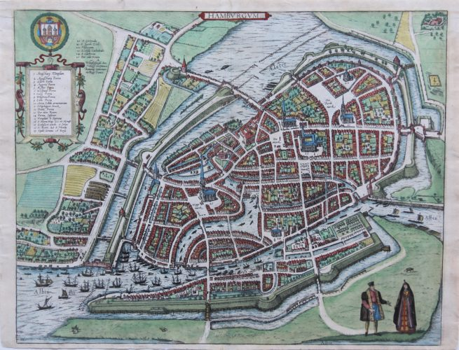 Old original map of Hamburg by Braun and Hogenberg