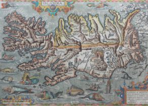 Superb old map of Iceland with many sea monsters by Ortelius 1603