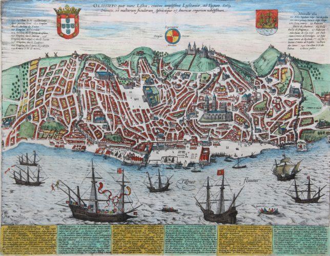Old original cityplan of Lisbon by Braun Hogenberg