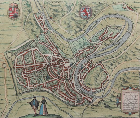 Old original map of Luxemburg by Braun and Hogenberge
