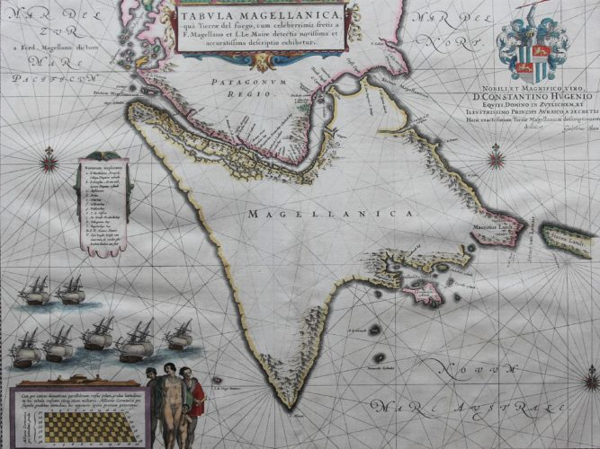 Old 17th century map of the Strait of Magellan by Willem and Joan Blaeu