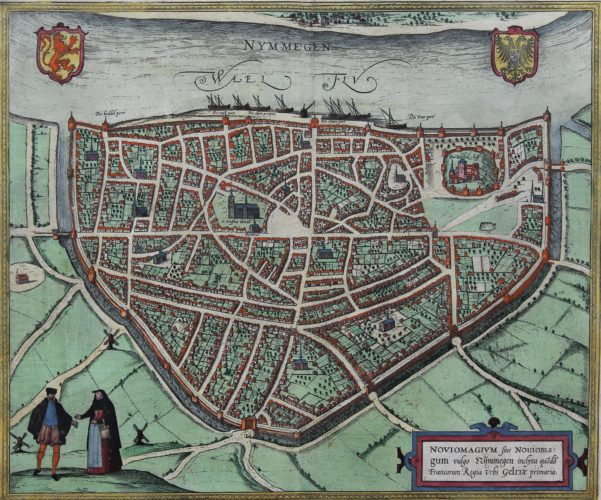 Old coloured view of Nijmegen by Braun and Hogenberg published in 1581