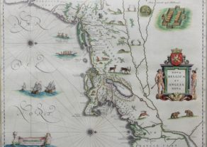 Superb old map of Nova Belgica and Anglia Nova or New York and New England by Willem and Joan Blaeu