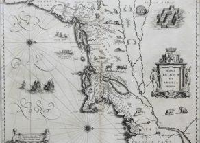 Old black and white map of Nova Belgica et Anglia Nova by Blaeu