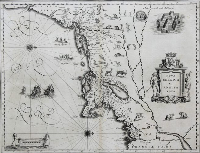 Old black and white map of Nova Belgica et Anglia Nova by Blaeu