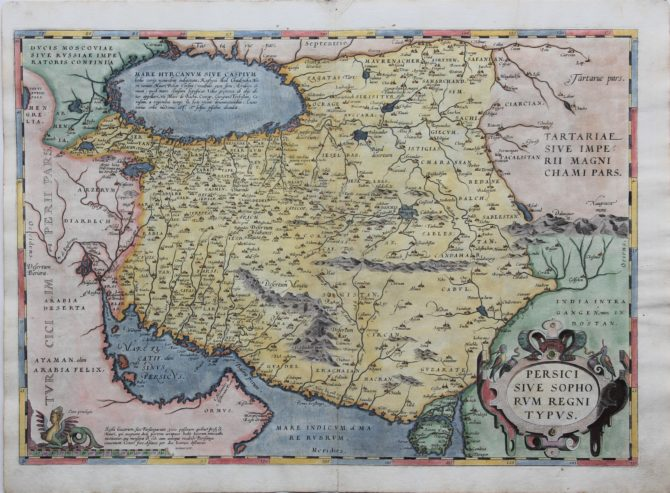 Old map of Persia or Iran by Ortelius published in his Terrarum Orbis Terrarum