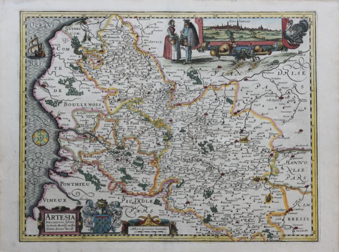 Superb old map of Artois by Kaerius published in 1617