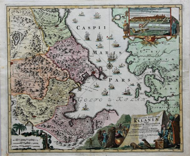 Old nice coloured map of Capsian Sea with parts of Armenia and Azerbaijan by Homann