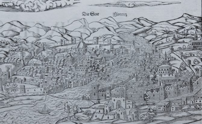 Superb old woodcut view of Firenze or Florence by Muenster 1550