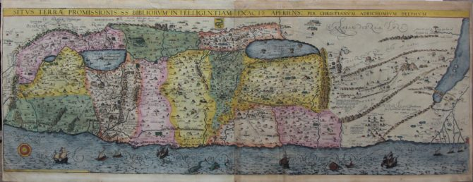 Supereb old map of the Holy Land by van Adrichem published in 1590
