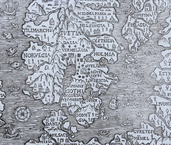 Superb old woodcut map of Scandinavia by Olaus Magnus 1555