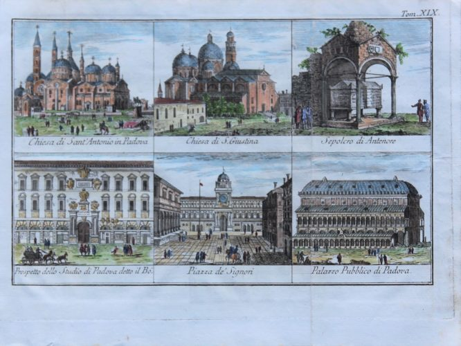 Six views of buildings in Padova (Padua) by Tommaso Salmon 1755