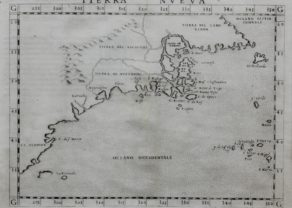 Original old map of Northeastern coast of America by Ruscelli
