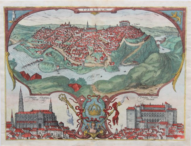 Old original map of Toledo with insets of the cathedral and the Alcazar by Braun and Hogenberg