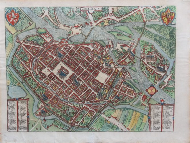 Old original map of Wroclav by Braun and Hogenberg