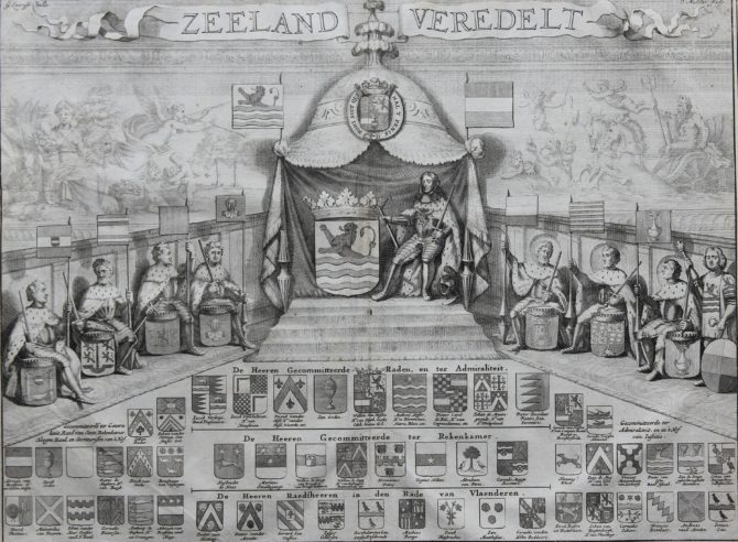 Old interesting view of the arms of Zeeland called Zeeland Veredelt by Smallegange 1696