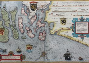 Chart or maritime map of Zeeland and Flanders by Waghenaer 1586