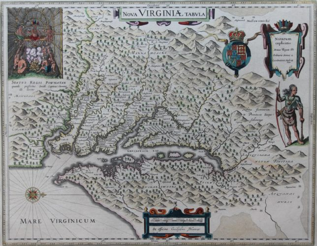 Old map of Virginia with Chesepeake Bay with inset of Pocahontas by Joan Blaeu