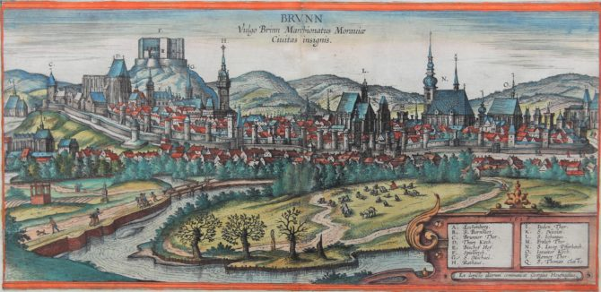 Old 16th century of Brno (Brunn) by Braun and Hogenberg