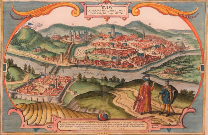 Old 16th century oval map of Budapest under Ottoman rule by Braun and Hogenbergof