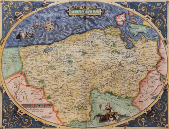 Old map of Flanders in egg form by Ortelius 1570