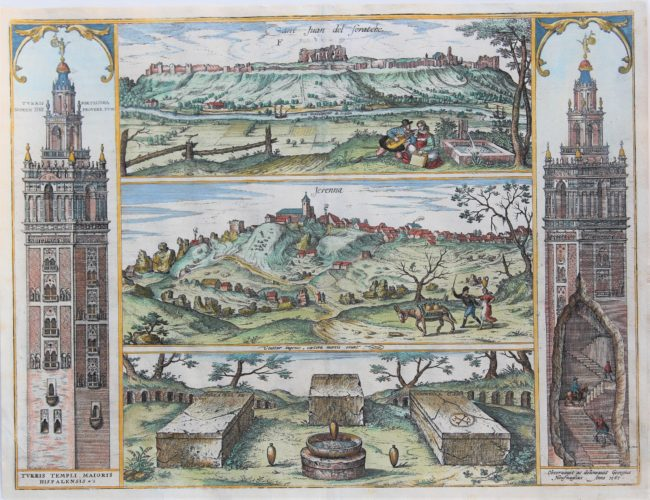 Old view of Seville with Giralda belltowers showing Hoefnagel on a horse mounting the tower. By Braun and Hogenberg 1598