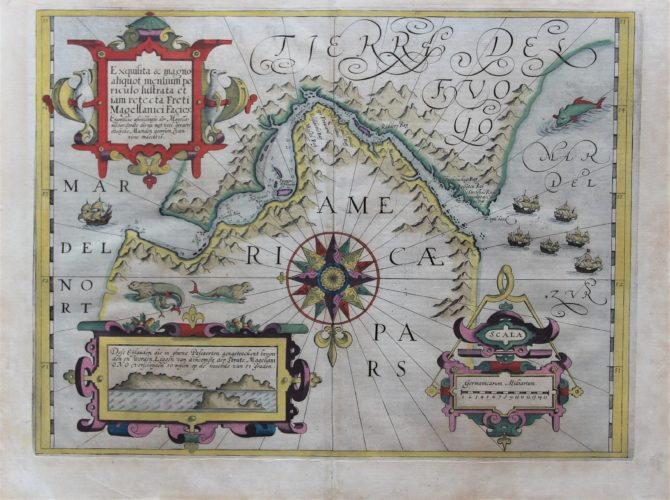 Old original map of the Strait of Magellan by Heijns, published by Hondius