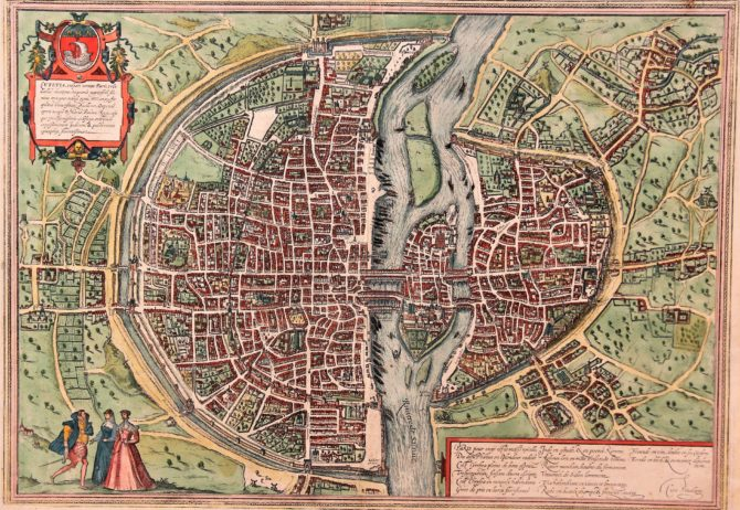 The ultimate old 16th century map of Paris by Braun and Hogenberg