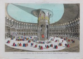 Optica print of the Rotunda in Renelagh Park Chelsea by Daumont in 1750