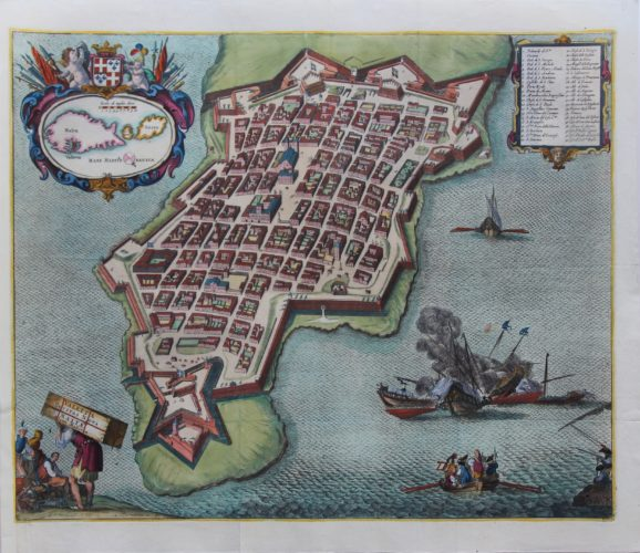 Superb old view of Valetta by Johannes Janssonius published in 1657