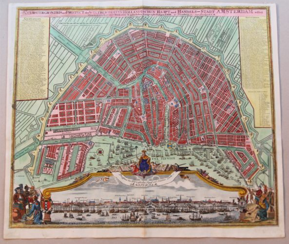 Superb old map of Amsterdam with fantastic inset of frog's view by Homann