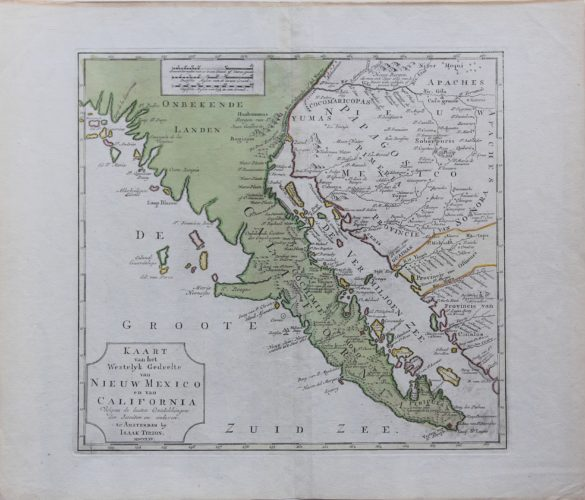 Old map of California and New Mexico by Isaak Tiron published in 1765