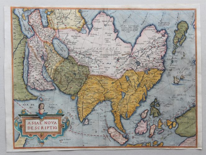 Old map of Asia by Abraham Ortelius published in 1580