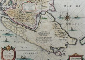 Superb old and coloured map of Magellanica by Janssonius and Hondius