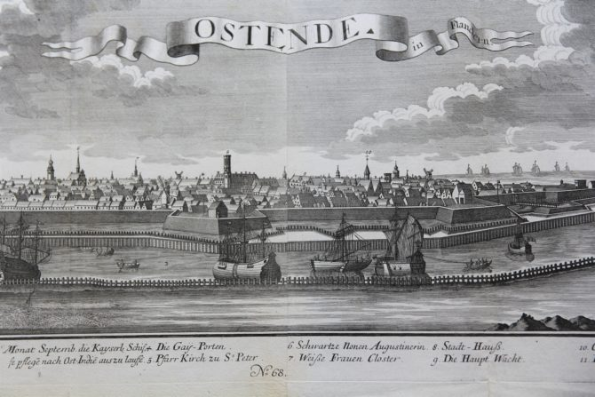 Old and large 17th century view of Ostend by Probst