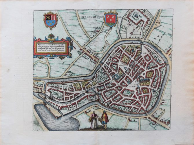 Old map of Bergen op Zoom by Braun and Hogenberg, published in their town atlas